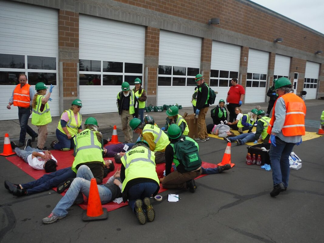 CERT volunteers staff a medical treatment area during a mock disaster drill in Eugene, Oregon.