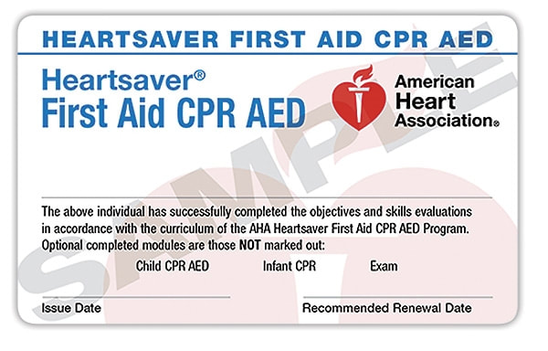 American Heart Association (AHA) Heartsaver CPR AED and First Aid Course Logo