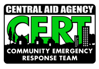 Central Aid Agency Community Emergency Response Team (CERT) logo.